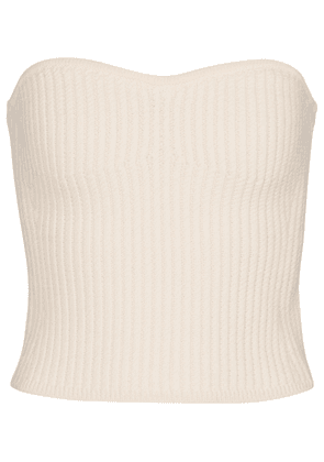 Ribbed-knit wool bustier