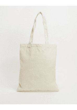 ASOS DESIGN heavyweight tote bag in off white canvas-Neutral
