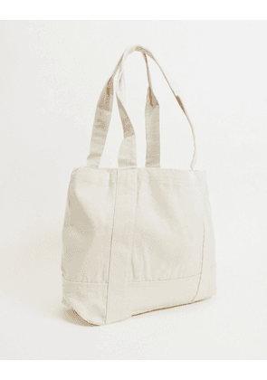 ASOS DESIGN heavyweight oversized tote bag in off white canvas-Neutral