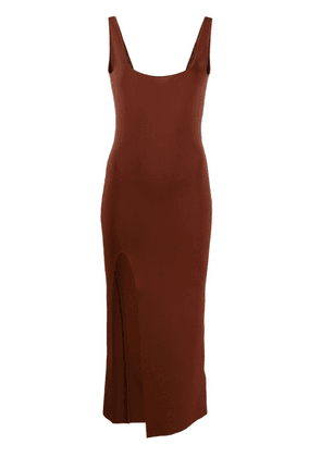 Drome square-neck knitted dress - Brown