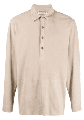 Closed panelled leather polo shirt - Neutrals