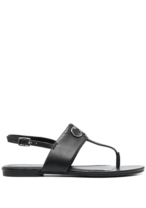 Calvin Klein logo plaque thong sandals - Black
