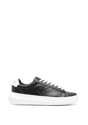 Calvin Klein embossed logo leather sneakers - Black