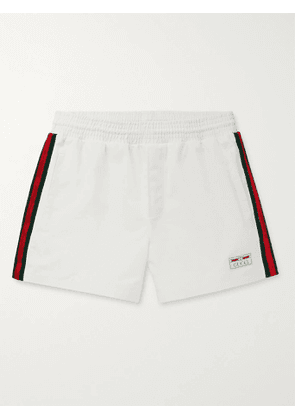 GUCCI - Mid-Length Webbing-Trimmed Swim Shorts - Men - White - IT 50