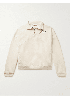 RHUDE - Logo-Embroidered Loopback Cotton-Jersey Half-Zip Sweatshirt - Men - Neutrals - S