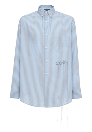 Loose Striped Cotton Shirt W/embroidery