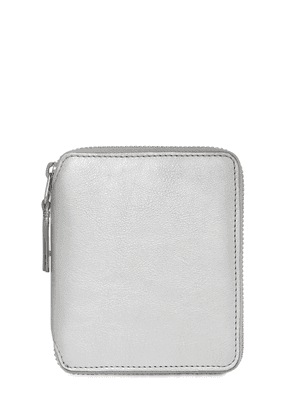 Silver Leather Zip-around Wallet