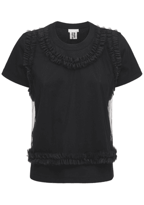 Cotton Jersey T-shirt W/ Nylon Tulle