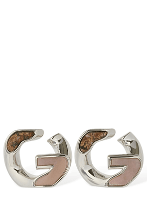 G Chain Stud Earrings W/ Stone Detail