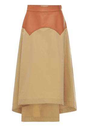 Cotton Toile & Leather Skirt