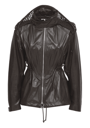 Shiny Leather Zip Up Coat