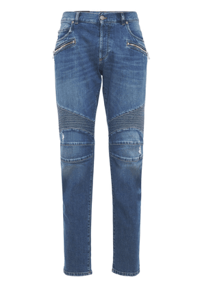 Ribbed Cotton Denim Tapered Jeans