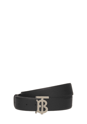 3.5cm Grained Leather Belt W/ Tb Logo