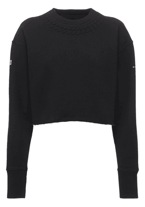 Embossed Chain Cropped Cotton Sweatshirt