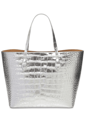 Wing Croc Embossed Leather Tote Bag