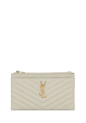 Monogram Bill Embossed Leather Pouch