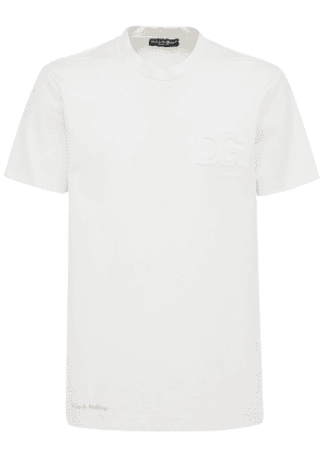 Embossed Logo Cotton Blend T-shirt