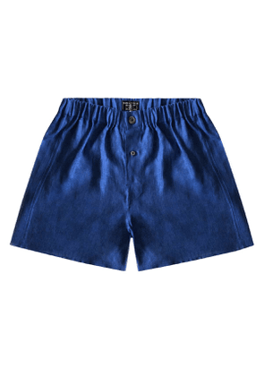 Prussian Blue Linen Boxer Shorts
