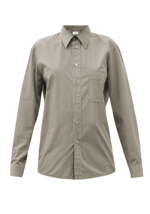 Lemaire - Exaggerated-collar Cotton Shirt - Womens - Mid Grey
