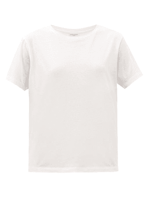 Saint Laurent - Relaxed-fit Cotton-jersey T-shirt - Womens - Off White