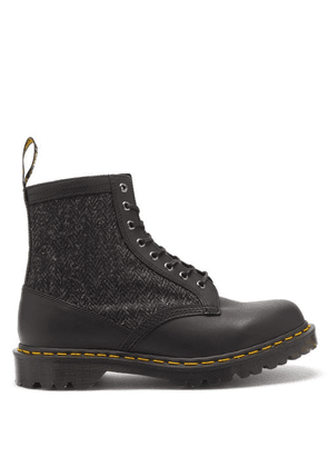 Dr. Martens - 1460 Leather And Harris-tweed Boots - Mens - Black