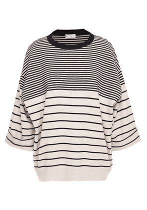 Brunello Cucinelli Bead-embellished Striped Wool, Cashmere And Silk-blend Sweater Woman Beige Size M