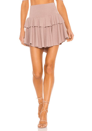 Chaser Cozy Rib Flouncy Tiered Mini Skirt in Rose. Size S, XS, M.