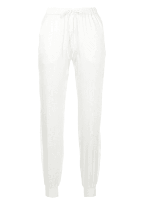 Carine Gilson lace-panel silk trousers - White