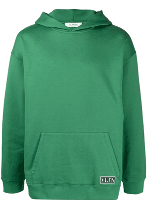 Valentino logo-patch hoodie - Green