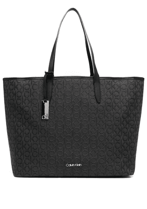 Calvin Klein jacquard-logo shopping bag - Black