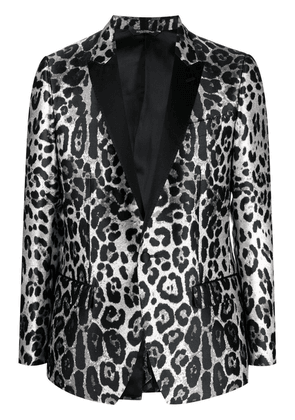 Dolce & Gabbana leopard-print single-breasted blazer - Black