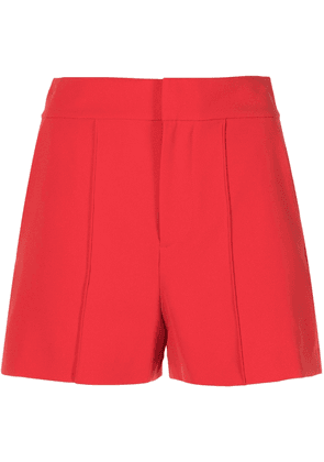 Alice+Olivia Dylan high-waisted pintuck shorts - Red