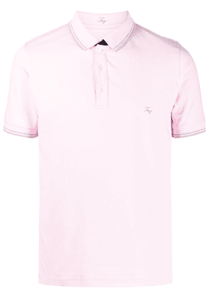 Fay embroidered-logo stretch-cotton polo shirt - Pink