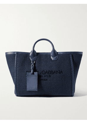 DOLCE & GABBANA - Logo-Embroidered Leather-Trimmed Cotton-Canvas Tote Bag - Men - Blue