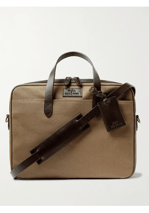 POLO RALPH LAUREN - Leather-Trimmed Canvas Briefcase - Men - Brown