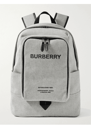 BURBERRY - Logo-Print Leather-Trimmed Canvas Backpack - Men - Gray