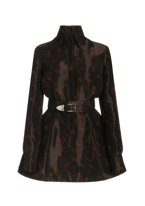 Brandon Maxwell - Women's Liquid Tortoiseshell Mini Shirt Dress - Print - Moda Operandi