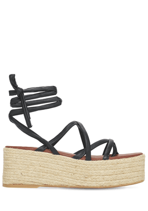 70mm Paw-paw Leather Espadrille Wedges