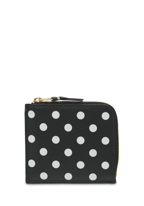 Dots Printed Leather Zip-around Wallet