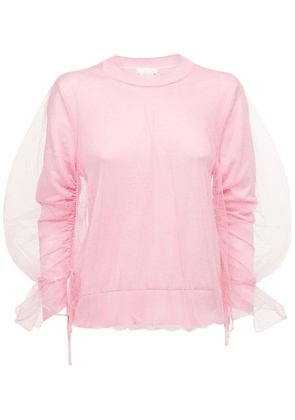 Tulle & Silk Jersey Crewneck Sweater