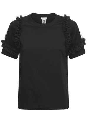 Cotton Jersey T-shirt W/ Tulle Sleeves