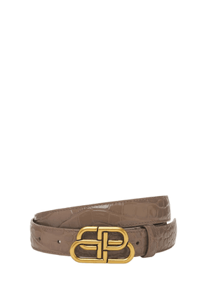 3cm Bb Croc Embossed Leather Belt