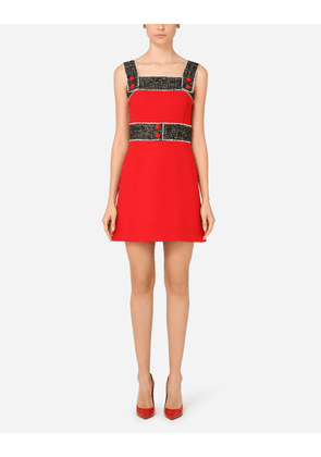 Dolce & Gabbana Collection - Short wool crepe dress with tweed details RED female 38