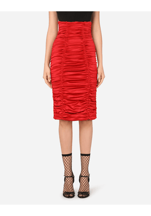 Dolce & Gabbana Collection - Short draped skirt in stretch satin RED female 36