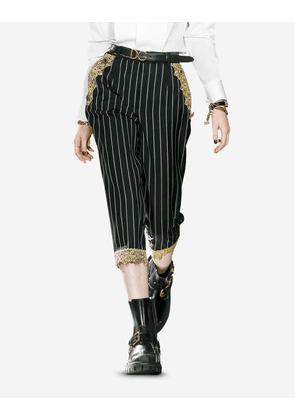 Dolce & Gabbana Collection - Pinstripe wool pants with macramé details MULTICOLOR female 44