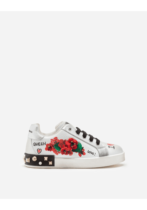 Dolce & Gabbana Shoes (24-38) - Leather Portofino sneakers with geranium embroidery WHITE female 29