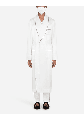 Dolce & Gabbana Loungewear Collection - Silk robe with matching face mask WHITE male 52