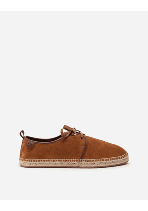 Dolce & Gabbana Collection - Suede lace-up espadrilles with rope sole BROWN male 42