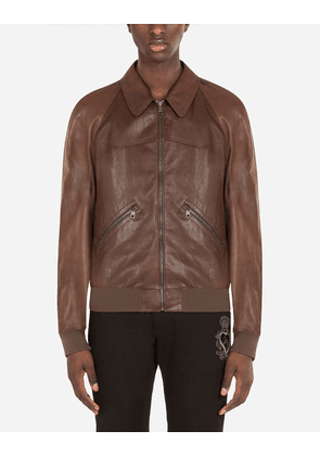 Dolce & Gabbana Collection - Lambskin jacket BROWN male 48