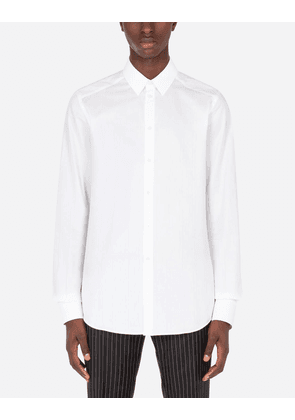 Dolce & Gabbana Collection - Cotton jacquard Martini-fit shirt with DG logo WHITE male 38